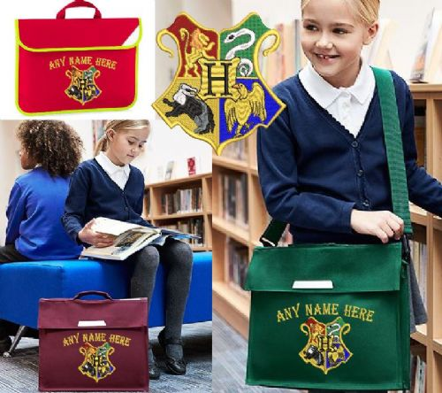 Harry Potter Hogwarts design Book bag - available in choice of sizes, colour & spec.  Personalised.